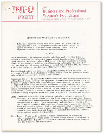 Washington DC: Business and Professional Women's Foundation, n.d., ca. 1970. First Edition. Quarto (...