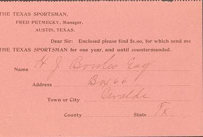 Austin, TX: The periodical, 1890. Receipt printed on pink paper, 3 1/2 x 5 1/2 inches, signed by Hy ...
