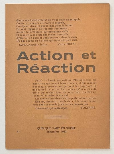 : , 1942. 16p., staplebound booklet, pages toned, very good. Contents in French and Italian.