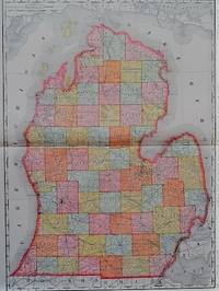 THE RAND-McNALLY VEST POCKET MAP OF MICHIGAN (SOUTHERN):  Showing all Counties, Cities, Towns, Railways, Lakes, Rivers, etc.