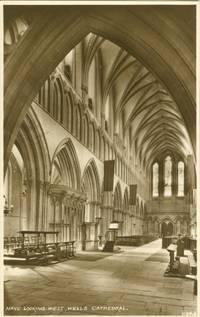 Nave looking west, Wells Cathedral unused Real Photo, RPPC Postcard