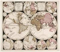 Diversa Orbis Terræ. visu incedente per coluros tropicorum, ambos ejus polos, et particularis sphæræ zenith, in planum orthographica projectio... Plat Ontwerp van verscheyde Aert-klooten