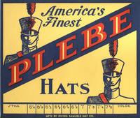 image of 1920s Plebe Cadet Uniform Hat Box Label