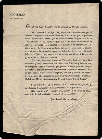 Mexico: No publisher/printer, 1823. Folio (29 cm; 11.5
