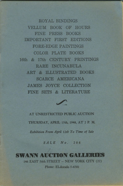 New York: Swann Auction Galleries, 1948. First edition. Stapled paper wrappers. A very good- copy wi...