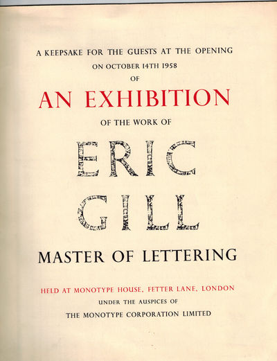 London: The Monotype Corporation Limited, 1958. First Printing. One of 250 unnumbered copies printed...