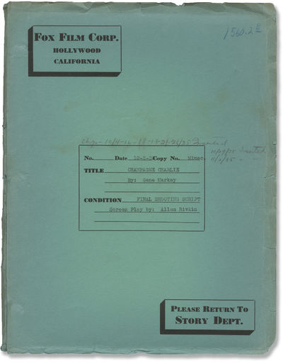 Hollywood: Fox Film Corporation, 1935. Final Shooting Script for the 1936 film, with holograph penci...