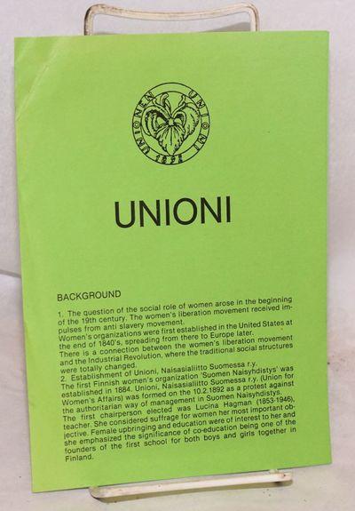 Helsinki, Finland: Unioni, Naisasialiitto Suomessa r.y., 1987. Single 8.5 x 11 inch green sheet, fol...
