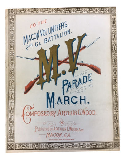 Macon, Ga: Arthur L. Wood, Agt, 1878. Very Good. Sheet music. p. including four pages of music and a...
