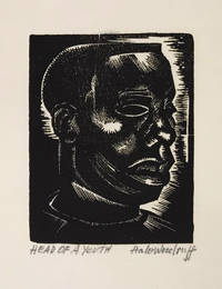 Hale Woodruff: 50 Years of His Art; with Head of a Youth (original signed woodcut); with: related ephemera