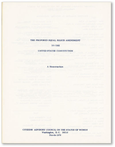 Washington DC: Citizens Advisory Council on the Status of Women, 1970. First Edition. Quarto (25.5cm...