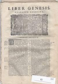 "21 printed leaves from ""Biblia Sacra Vulgata editionis Sixti V. & Clem. from VIII. Pont. Max. auctoritate recognita"""