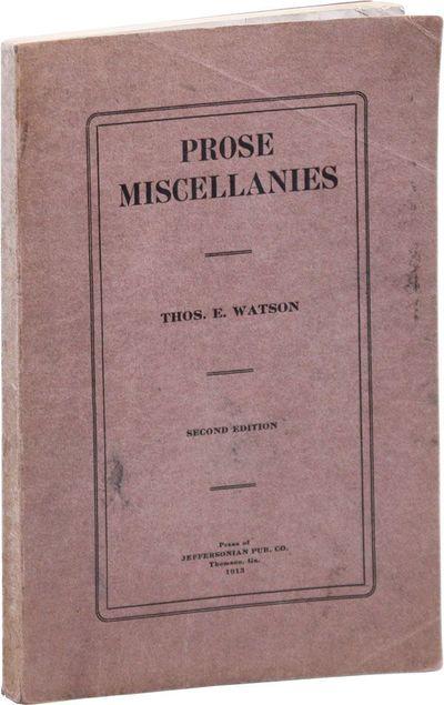 Thomson, GA: Jeffersonian Publishing Co, 1913. Pamphlet. Watson (1856-1922) was a populist Georgia p...