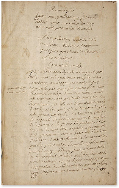 1700. Manuscript Commentary on the Customary Law of Artois . . Hebert, Guillaume-Francois. Remarques...
