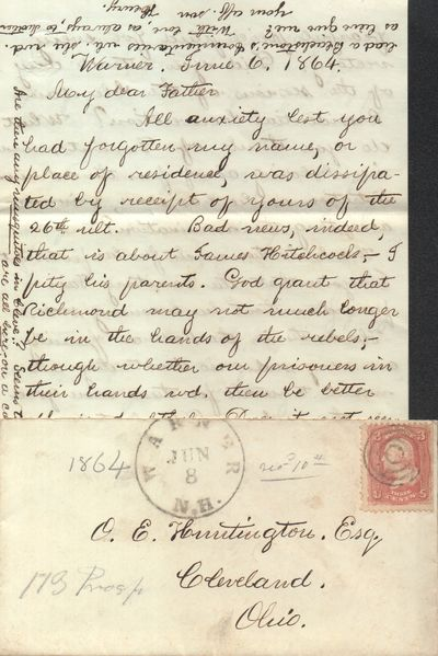 Very Good. A great letter that mentions the Civil War, John C. Fremont's presidential nomination, an...