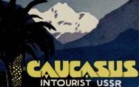 Caucasus in Tourist USSR.  [LUGGAGE LABEL]
