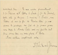 Autograph letter signed to an unidentified male recipient