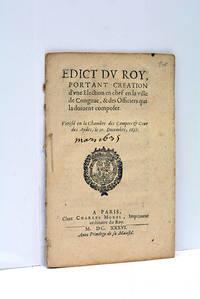 EDICT DU ROY, portant création d'une Election en chef en la ville de Congnac, et des...
