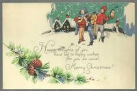 MERRY CHRISTMAS POSTCARD WITH CAROLERS AND SNOWY TOWN