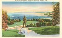 Massasoit Statue and Plymouth Harbor, Plymouth, Mass unused linen Postcard