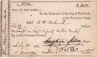 DOCUMENT SIGNED BY STEPHEN ALLEN AS 55TH MAYOR OF NEW YORK.