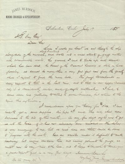 Very Good. Set of two manuscript letters by James Murdoch, a mining engineer and superintendent, abo...