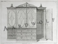 image of 18th c. Thomas Sheraton Furniture Engraving: A Wardrobe, From The Cabinet Maker And Upholsterer's Drawing Book