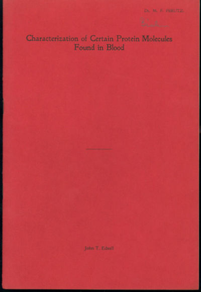 1949. First edition. Edsall, John T. (1902-2002). Characterization of certain protein molecules foun...
