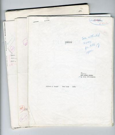 New York: Knopf, 1983. ,65 leaves. Quarto. Original and photocopied typescript, plus an attached lon...