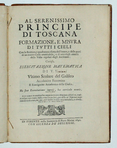 Florence: Piero Matini, 1692. Hardcover. Very Good. 4to - over 9¾ - 12