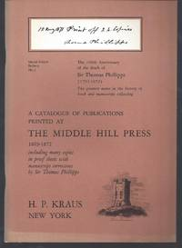 image of Special Subject bulletin No 5. A catalogue of publications printed at the Middle Hill Press 1819 - 1872 including many copies in proof sheets with manuscript corrections by Sir Thomas Phillipps.