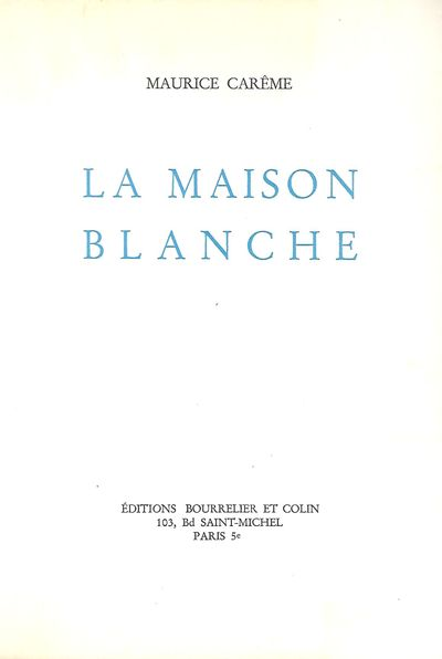 Paris: Editions Bourrelier Et Colin, 1967. Fifth Corrected Edition. A book of poetry. Signed present...