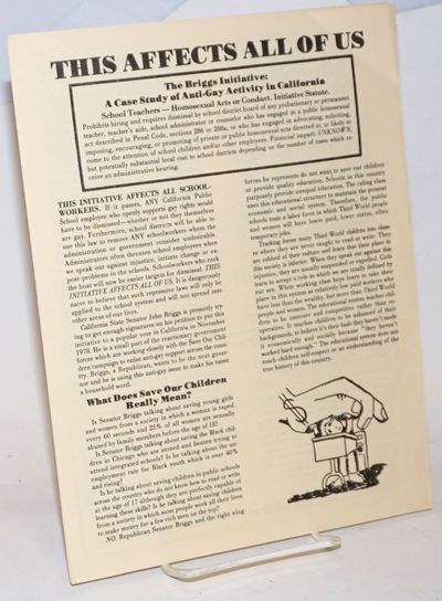 San Francisco: Gay Schoolworkers Coalition, 1978. Four panel pamphlet, 8.5x11 inches, cartoon panels...