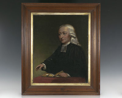 An oil on canvas of the founder of the Methodist movement John Wesley. In this half-length view, Wes...