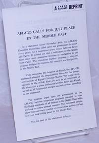 AFl-Cio Calls for Just Peace in the Middle East
