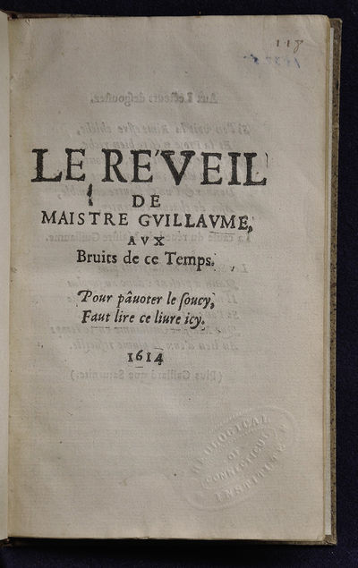 S.l. (Paris?): s.n., 1614. First Edition. Hardcover. Very good. 8vo. Collation: A-D4, COMPLETE. 32 p...