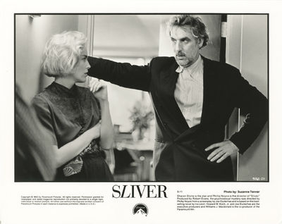 Los Angeles: Paramount Pictures, 1993. Vintage reference photograph of Sharon Stone and director Phi...