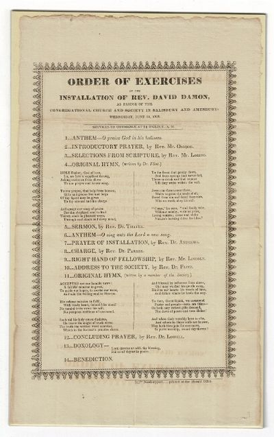Newburyport: printed at the Herald Office, 1828. Broadside (approx. 13