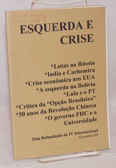 Sao Paulo: Osvaldo Coggiola, 1999. 53p., staplebound pamphlet, text in Portuguese. Stamped