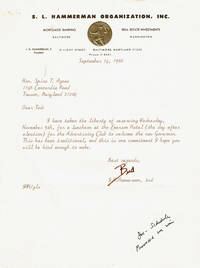 image of A TYPED LETTER SIGNED by Spiro Agnew's bagman I.H.