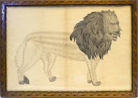 American School Calligraphic Drawing of a Lion, pen and ink