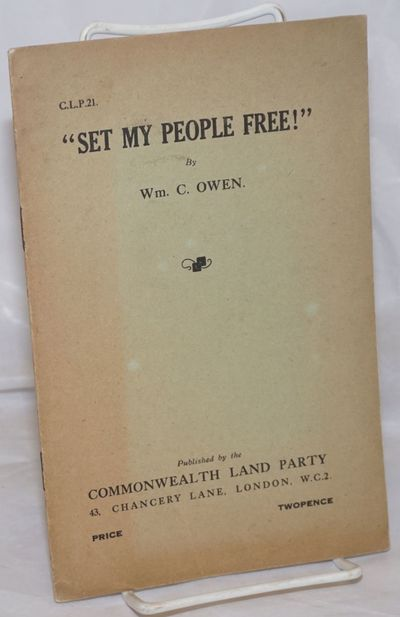 London: Commonwealth Land Party, 1929. Pamphlet. 15p., stapled wraps, 5.5x8.5 inches, front wrap une...