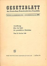 Gesetzblatt Der DDR. Sonderdruck 289. Anordnung Über Die Tafel Der  Gesetzlichen Einheiten Vom Oktober 1958