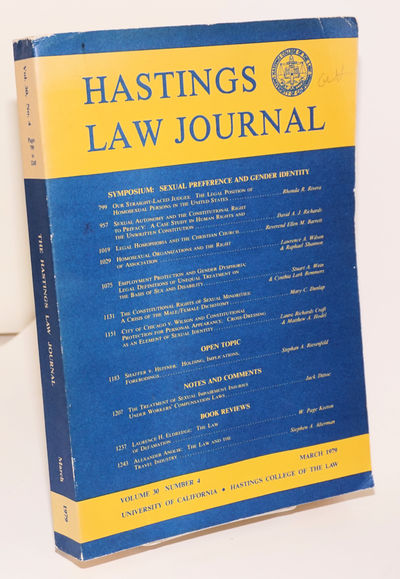 San Francisco: Hastings College of the Law, 1979. Hardcover. 447p., very good first edition trade pa...