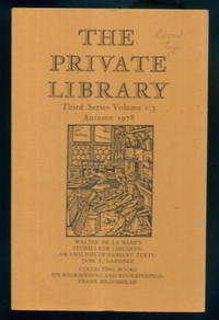 image of The Private Library: Quarterly Journal of the Private Libraries Association - Third Series Vol.1 No.3 Autumn 1978