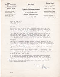 image of TYPED LETTER TO PSYCHIATRIST AND CRIMINOLOGY EXPERT ARTHUR N. FOXE SIGNED BY PSYCHIATRIST BENJAMIN KARPMAN, EDITOR OF ARCHIVES OF CRIMINAL PSYCHODYNAMICS.