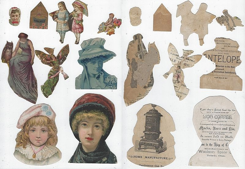 LOT OF NINE SCRAP VICTORIAN TRADE CARDS FEATURING LADIES, Advertisement
