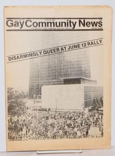 Boston: GCN, 1982. Newspaper. 16p. folded tabloid newspaper on newsprint, news, opinion, articles, e...