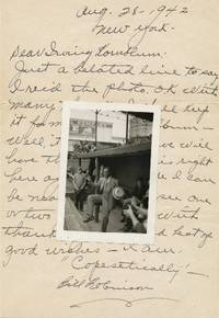 Scarce Autograph Letter Signed with Baseball content and original unsigned 12mo photograph, 4to, New York, Aug. 28, 1942 by  BILL