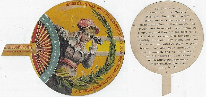 VICTORIAN DIE CUT FAN TRADE CARD FOR MORSE'S INDIAN ROOT PILLS AND COMSTOCK DEAD SHOT WORM PELLETTS, Advertisement